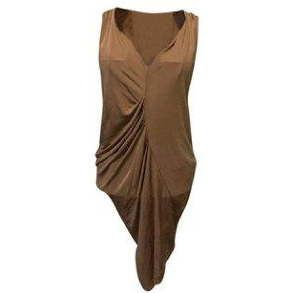Rachel Roy Tan Ruched Mini Dress X-Small,your-fashions-for-less,Rachel Roy,Dresses.