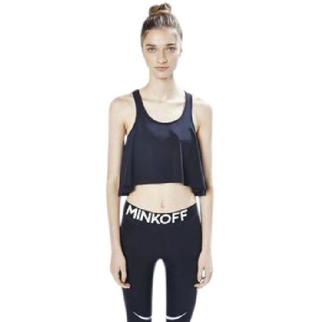 Rebecca Minkoff Black Tippi Ruffle Racerback Large New ! - Your Fashions For Less