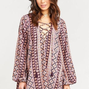 Show Me Your Mumu Moroccan Dazzle Lace Up Dress Small New! - Your Fashions For Less