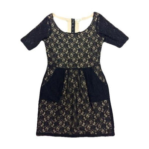 Silence + Noise Intersection Black Lace Dress Medium-Silence + Noise-Your Fashions For Less