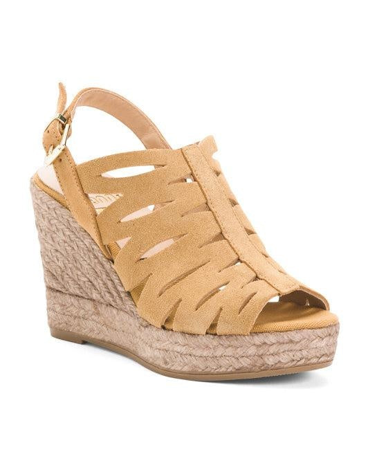 Kanna Raffia Wedge Suede Sandals 40 (US 10) Or 39 (US 9) New,your-fashions-for-less,Kanna,Sandals.