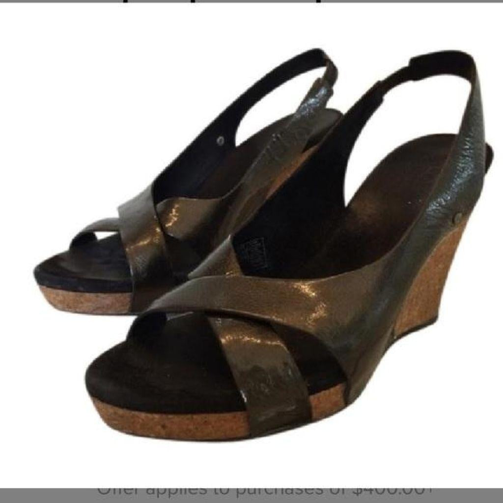 UGG Black Patent Leather Wedges 7M New-Ugg Australia-Your Fashions For Less
