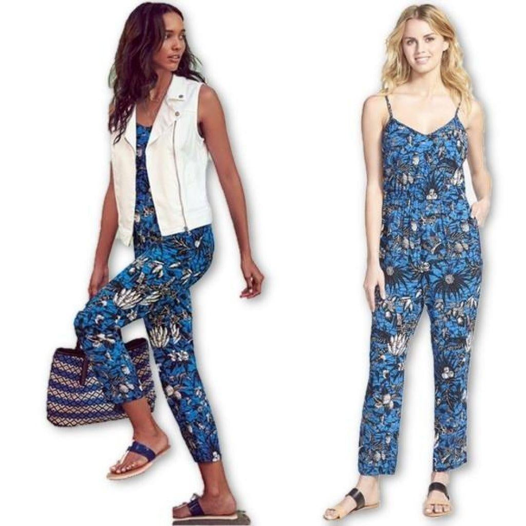 Vince Camuto Women's Blue Tie-Strap Jungle Escape Jumpsuit Large Free Shipping-Vince Camuto-Your Fashions For Less