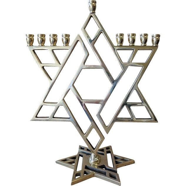 Brass Star of David Menorah