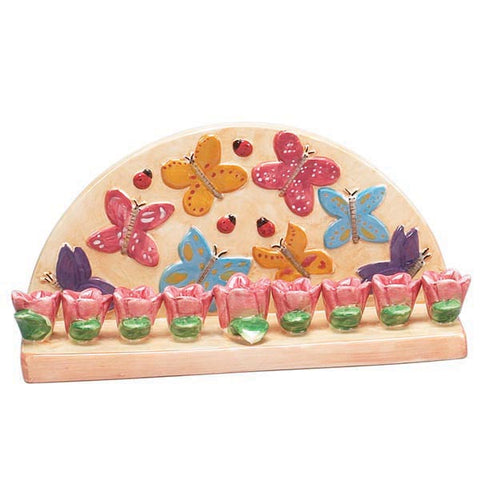 Butterfly and Flower Menorah