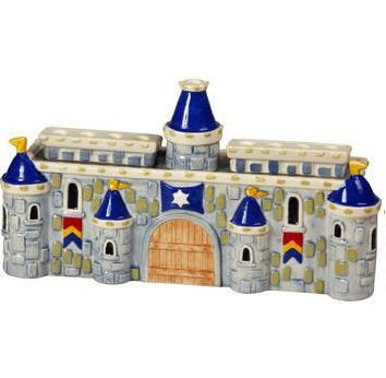 Blue Ceramic Castle Menorah