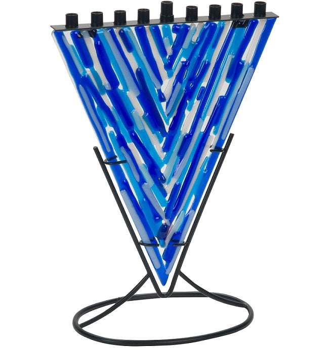 Blue Fused Glass Menorah