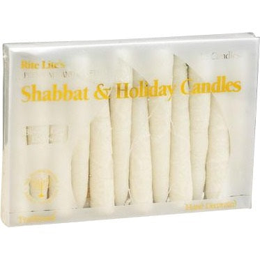 White Frosted Shabbat Candles - Set of 12