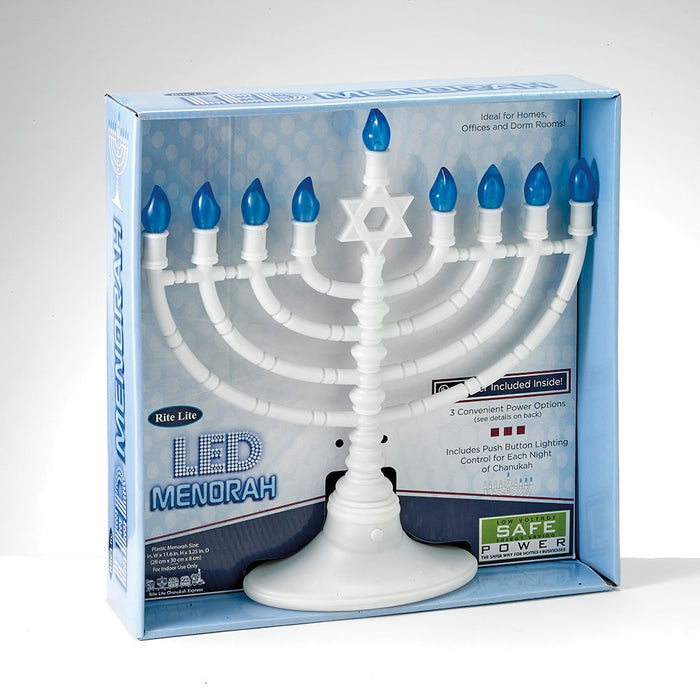 White LED Electronic Menorah with Blue Bulbs