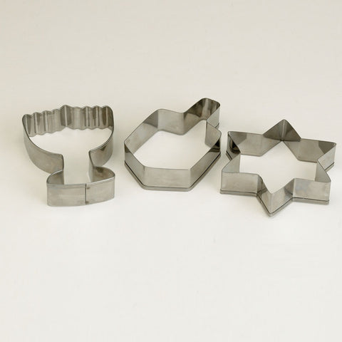 Hanukkah Metal Cookie Cutters - 3 Assorted Shapes
