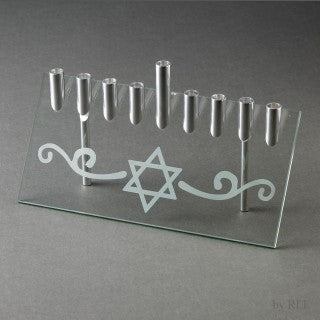 Star of David Glass Menorah