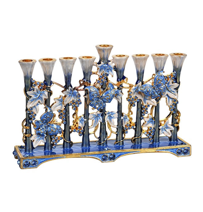 Butterfly and Grapes Jeweled Menorah