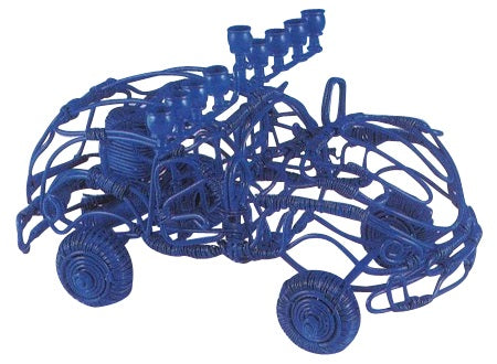 Blue Wire Car Menorah