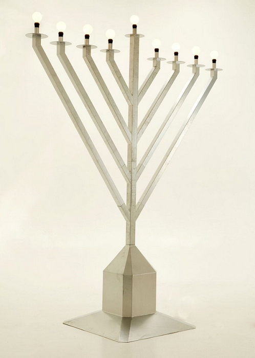 9 Foot Tall Display Menorah - Silver