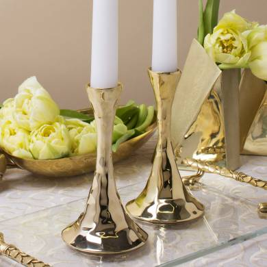 Gold Hammered Candle Holders