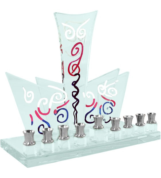 Art Deco Hand Painted Glass Menorah
