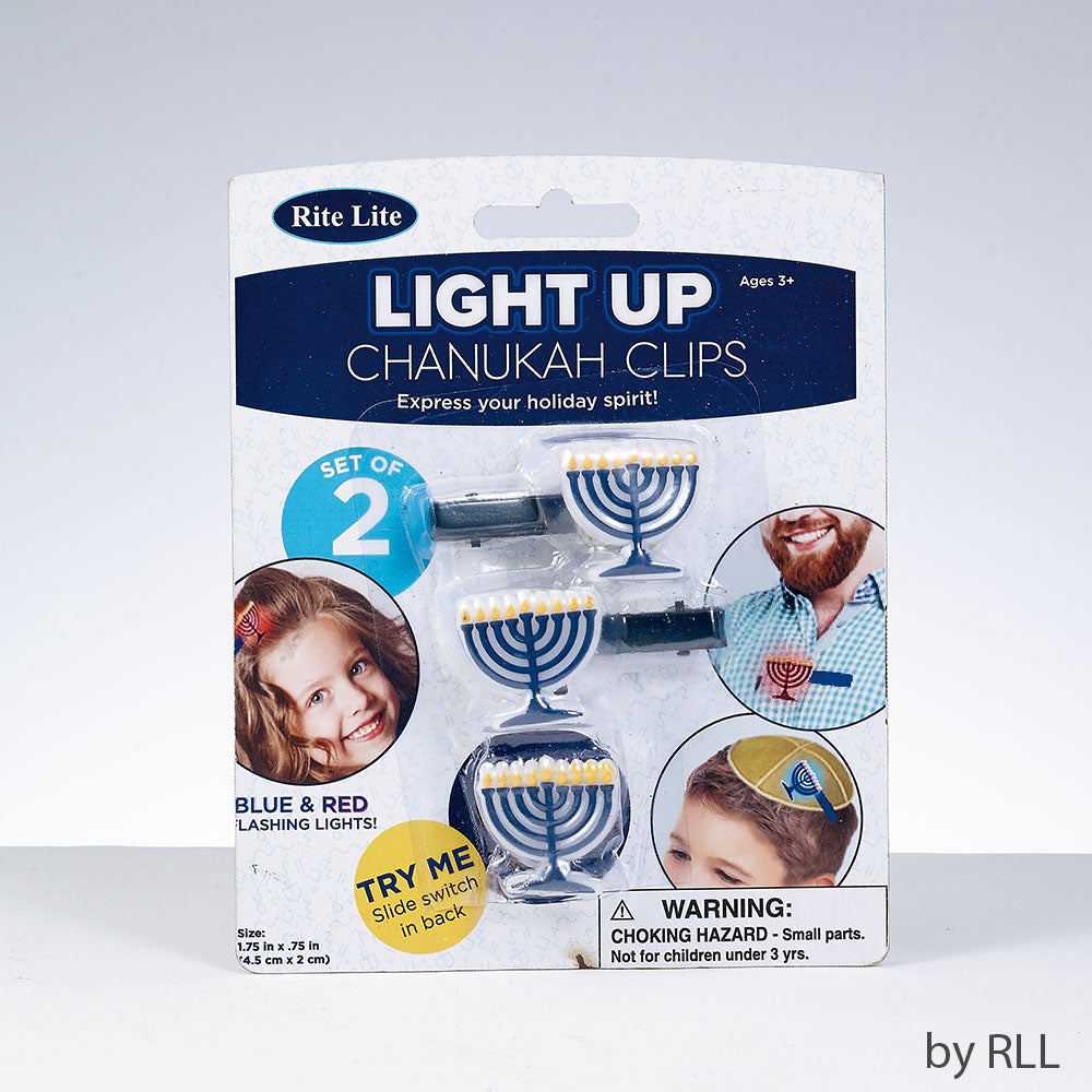 Light Up Chanukah Clips- Set of 2