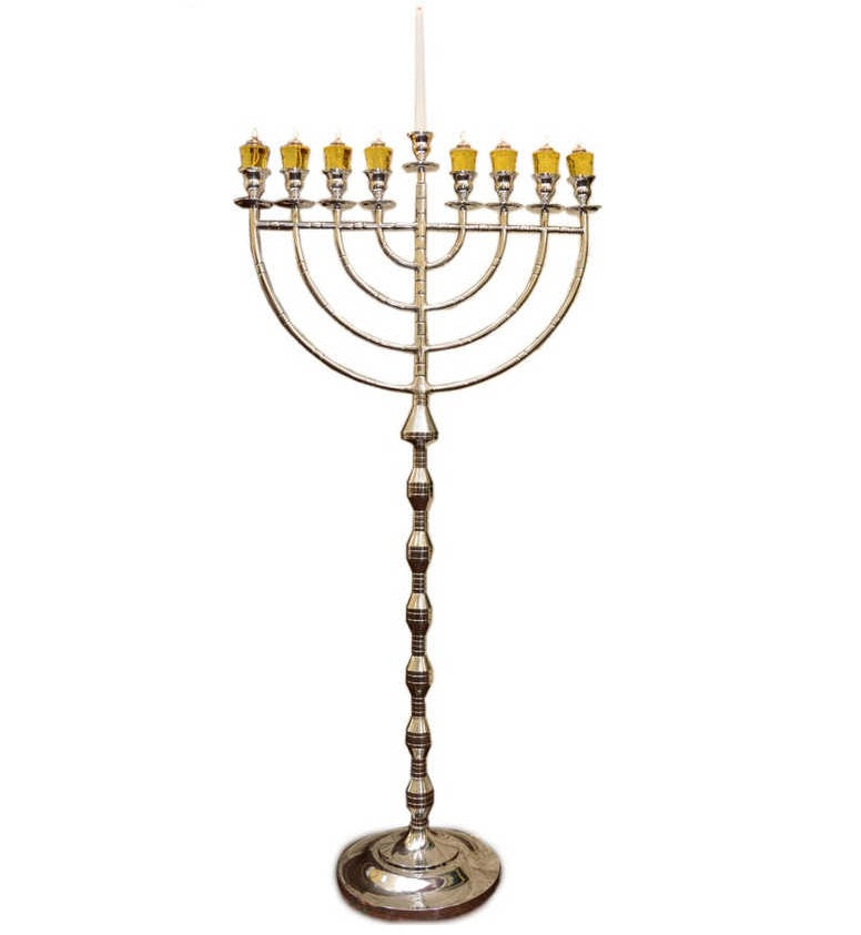 63'' Indoor Display Menorah - Silver Aluminum