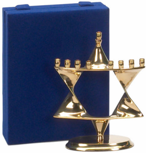 Gold Star of David Menorah