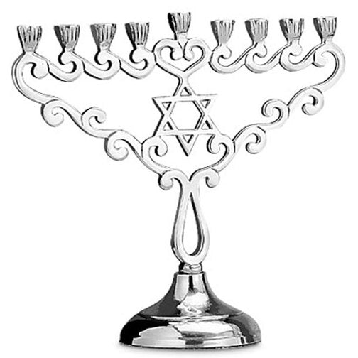 Aluminum Menorah with Star of David