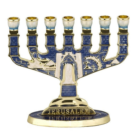 Jerusalem Enamel Blue Menorah