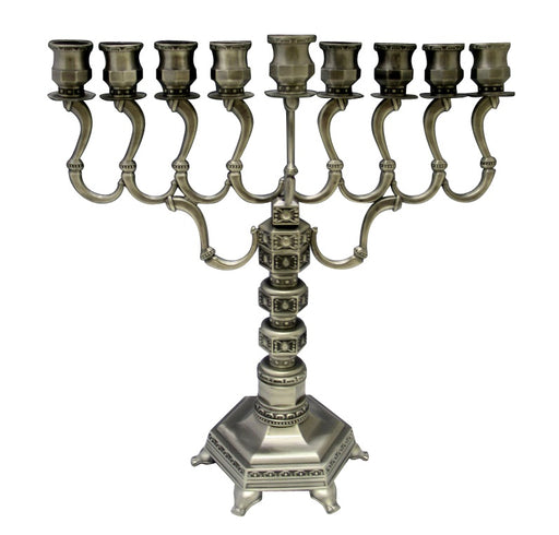 "Large Pewter Menorah 14"" High"