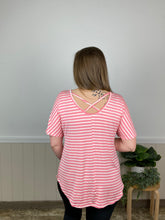 Pink Striped Cross Back Top (All Sales Final)