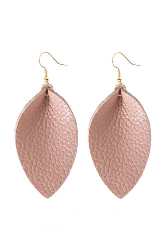 Dusty Mauve Leather Teardrop Earrings