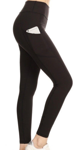 Curvy Black Active Pocketed Leggings