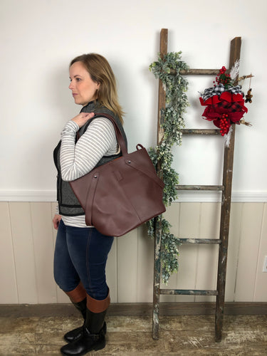 Brown Leather Tote Bag  With Zip Pouch