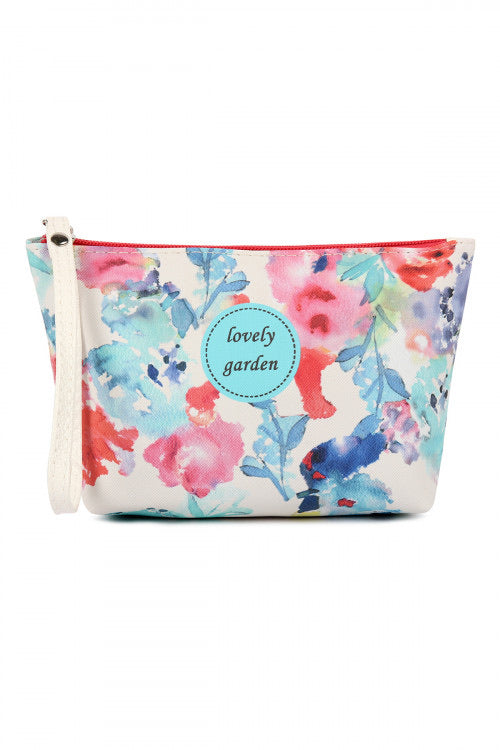 Lovely Garden Watercolor Cosmetic Bag