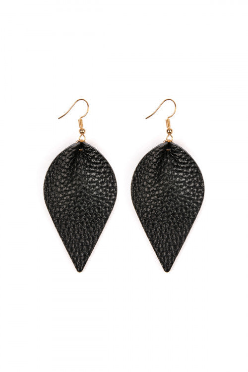 Teardrop Pinched Leather Earrings