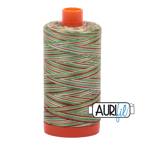 Aurifil Thread - Leaves Variegated (4650) - 1300 m - 50/2 wt - Mako Cotton