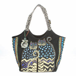Laurel Burch Large Scoop Tote Spotted Cats