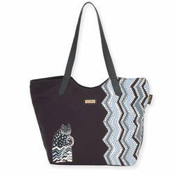 Laurel Burch Scoop Tote Artistic Canvas Polka Dot Cat