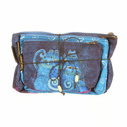 Laurel Burch Cosmetic Bags Indigo Cats Set of 3