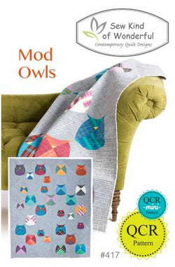 Mod Owls by Sew Kind of Wonderful - A Quick Curve Ruler Quilt Pattern