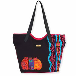 Laurel Burch Scoop Tote Artistic Canvas Feline Friends