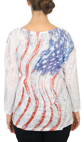 Impulse California Women's Waving Flag Printed Top