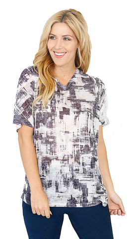 Impulse California Women's Charcoal Abstract V-Neck