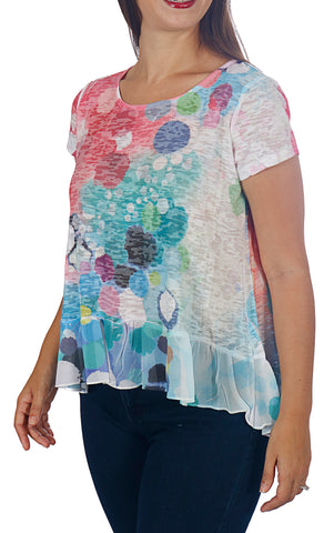 Women's Short Sleeve Burnout Top with Chiffon Hem - Petite