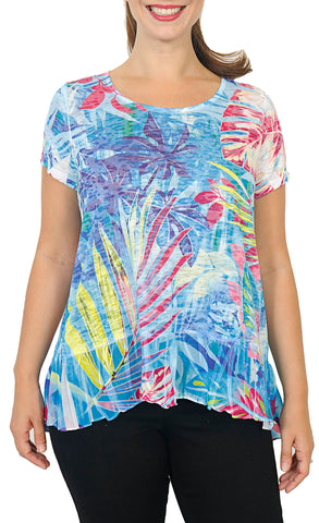 Women's Short Sleeve Burnout Top with Chiffon Hem