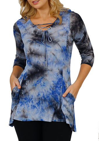Impulse California Tie Dye Crisscross Tunic