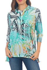 Impulse California Women's 3/4 Sleeves Printed Tunic