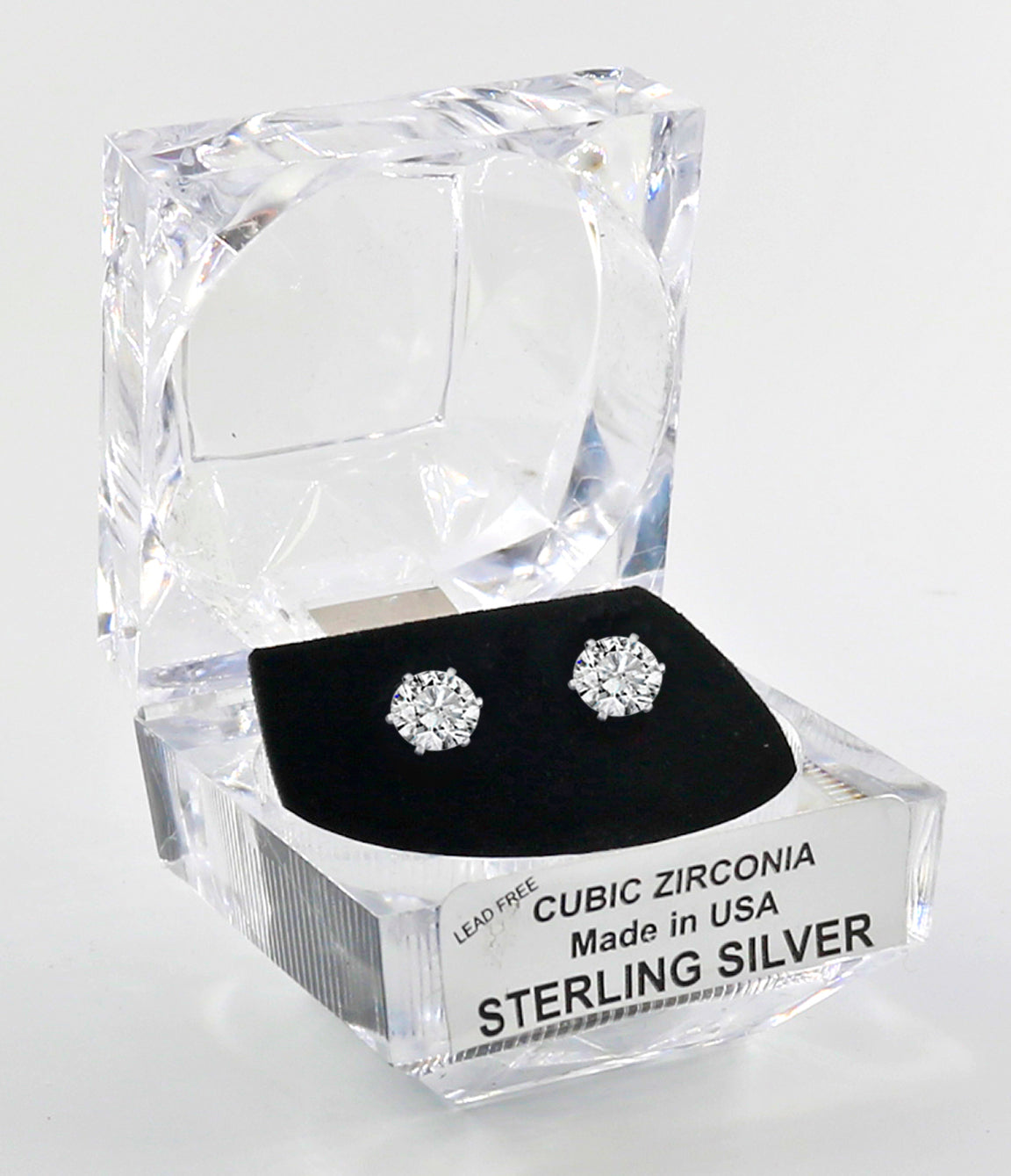 Sterling Silver Round Cut Cubic Zirconia Earrings with Crystal Box 2 carat (6 1/2 MM)