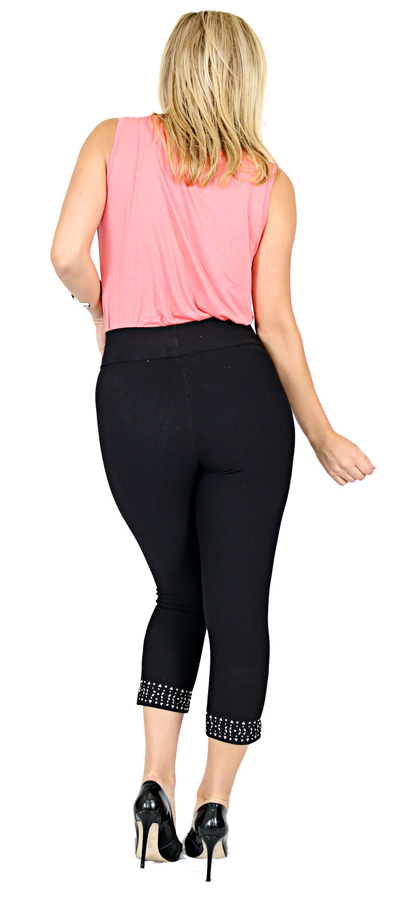 TrueSlim™ Black Capri Leggings with Stone