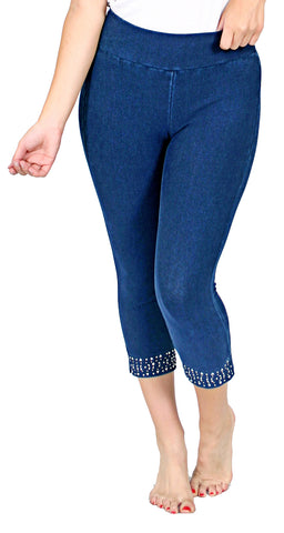 TrueSlim™ Indigo Capri Leggings with Stone