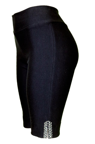 TrueSlim™ Black Short Knit women Leggings with Stone