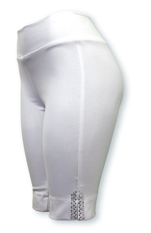 TrueSlim™ White Short Knit Women's Leggings with Stone Detail