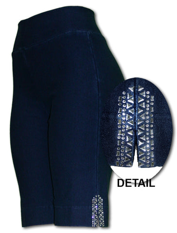 TrueSlim™ Indigo Short Knit Leggings with Stone Detail
